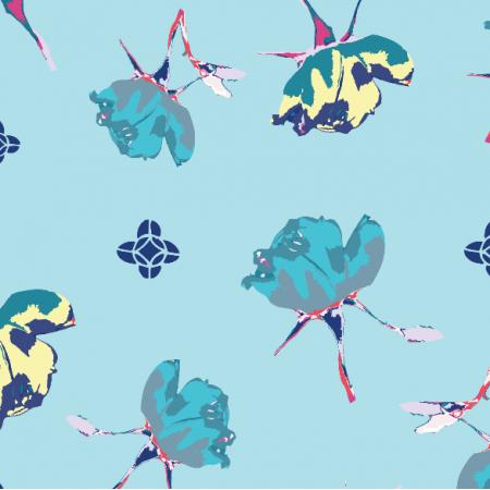 Tkanina 3220 | tumbling rose, blue