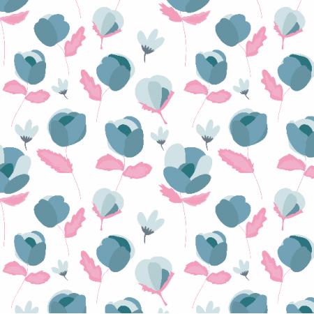 Tkanina 3318 | niebieskie kwiaty