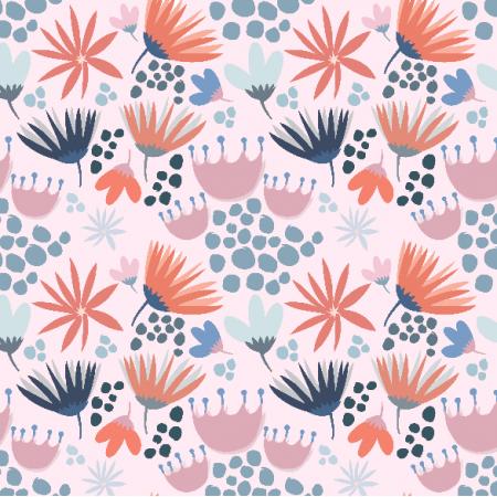 Fabric 3364 | Wiosenne kwiatki na różowym