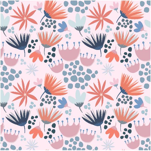 Tkanina 3364 | Wiosenne kwiatki na różowym