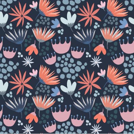 Fabric 3368 | Wiosenne kwiatki na granatowym