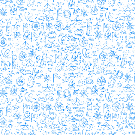 Fabric 3473 | sea drawing doodle pattern