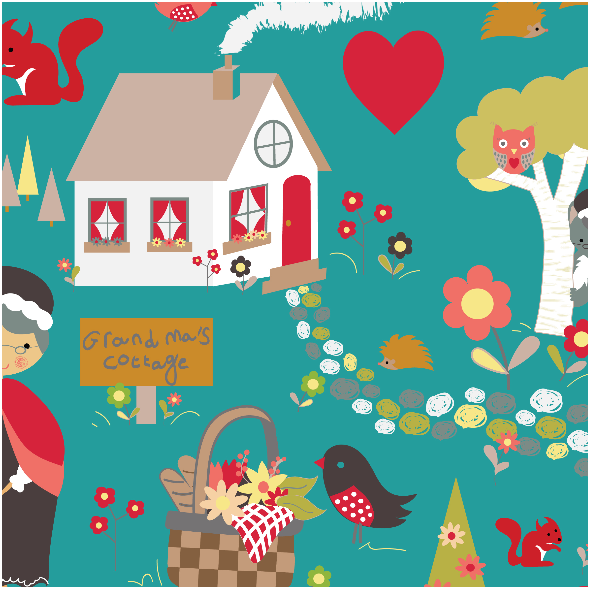 Fabric 3884 | little red in the forest, teal