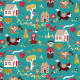 Tkanina 3884 | little red in the forest, teal