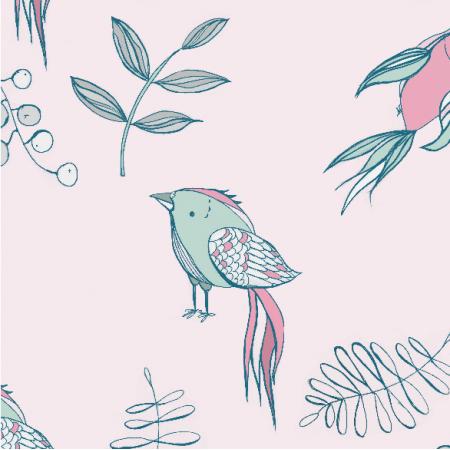 Fabric 4042 | Ptaki na różowym