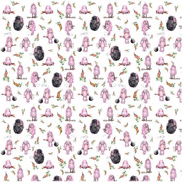Fabric 4121 | złowieszcze zajce w mini ataku