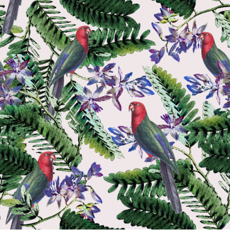 Fabric 4507 | Papugi w tropikach0