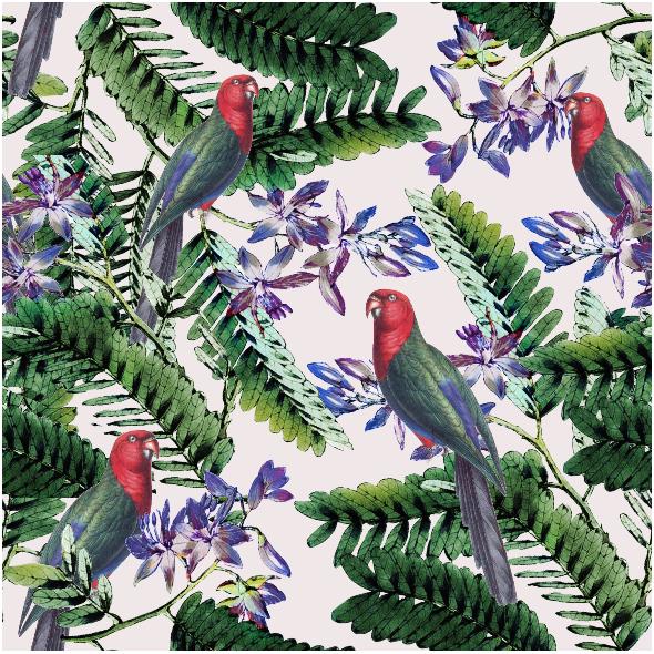 Tkanina 4507 | Papugi w tropikach0
