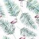 Tkanina 4508 | tropikalne flamingi