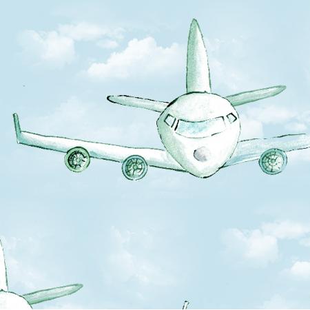 Fabric 4668 | samolot w chmurach