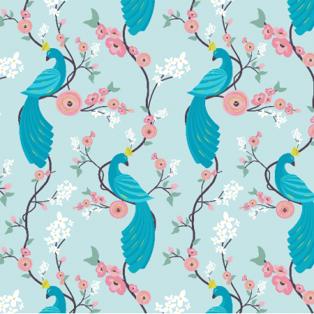 Fabric 4865 | peacock garden - blue0
