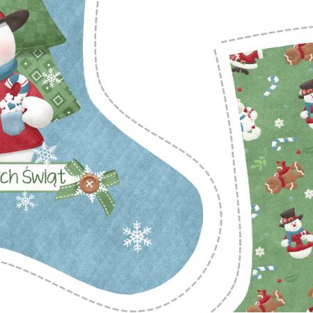 "Tkanina 5151 | Skarpeta świąteczna ""snowman"""
