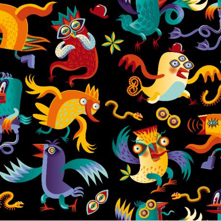 Fabric 5241 | ptaszki chuligany