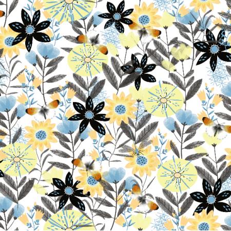 Tkanina 5306 | Kwiaty i motylki