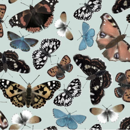 Tkanina 5364 | szare motyle