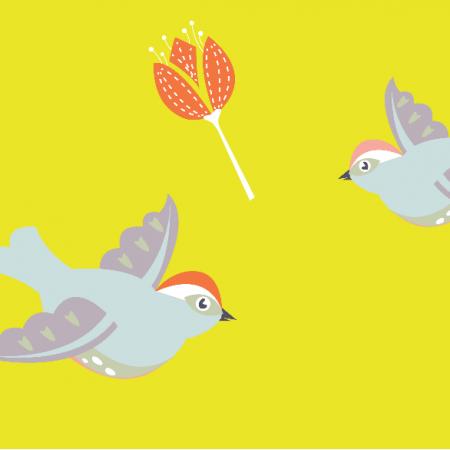 Fabric 5569 | Ptaki (match - pomarańczowe kwiaty)