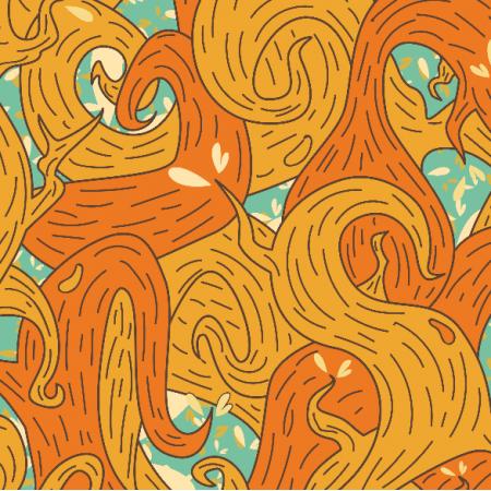 Fabric 5724 | orange vines