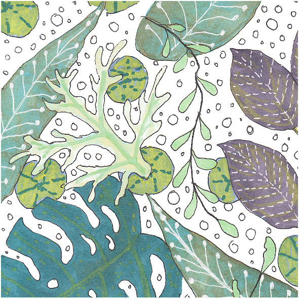 Tkanina 6008 | kolorowa dżungla