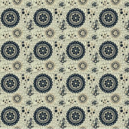 Fabric 6524 | kwiaty i koła na spękanym