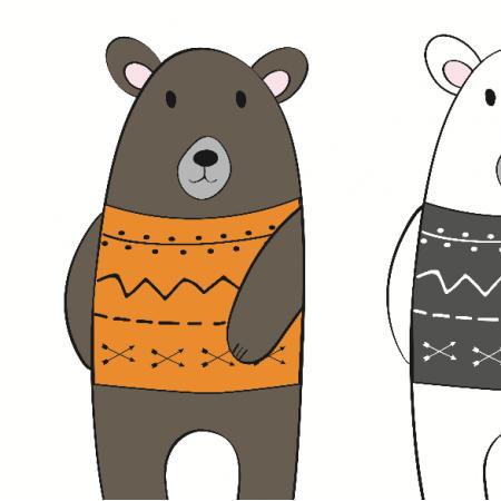 Tkanina 7047 | bears twins