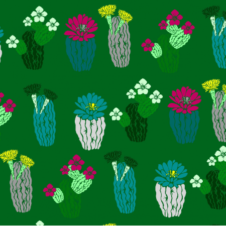 Fabric 7143 | szmaragdowe kaktusy