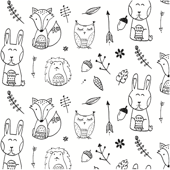 Fabric 7163 | Leśne zwierzaki