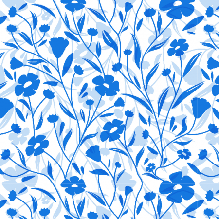 Tkanina 7179 | flowers blue