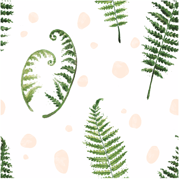 Tkanina 7334 | fern watercolor