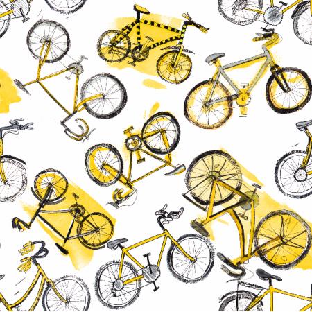 Tkanina 7968 | żółte Rowery