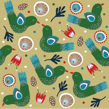 Fabric 8370   Folk Parrot