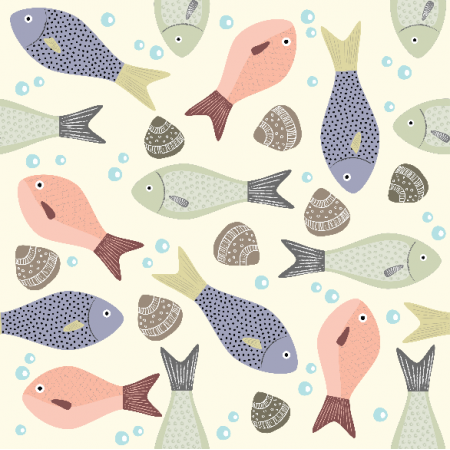 Fabric 8372   Pastel fish
