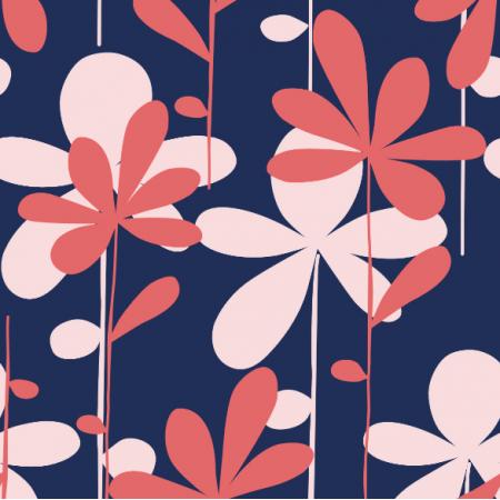 Fabric 8602 | HANAE- czerwono-różowe kwiaty na niebieskim tle