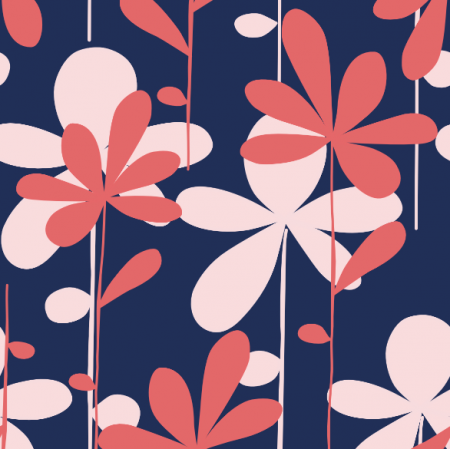 8602 | HANAE- czerwono-różowe kwiaty na niebieskim tle