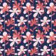 Tkanina 8602 | HANAE- czerwono-różowe kwiaty na niebieskim tle