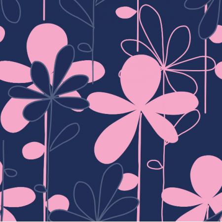 8605 | HANAKO różowe kwiaty na granatowym tle