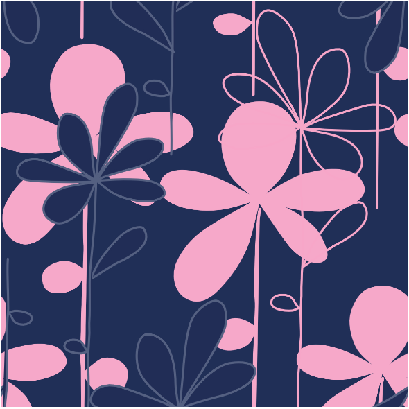 Tkanina 8605 | HANAKO różowe kwiaty na granatowym tle