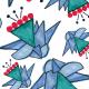 Tkanina 9233 | Celina geometryczne kwiaty