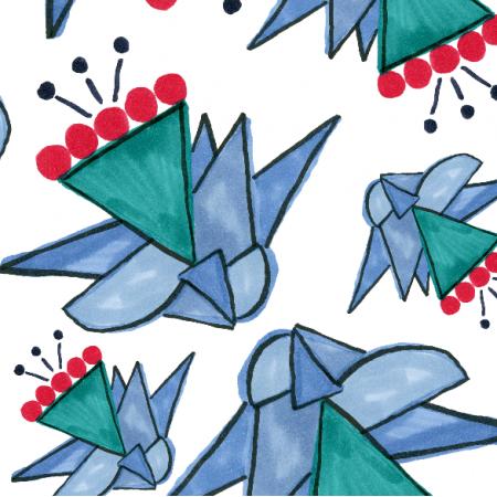 Fabric 9233 | Celina geometryczne kwiaty
