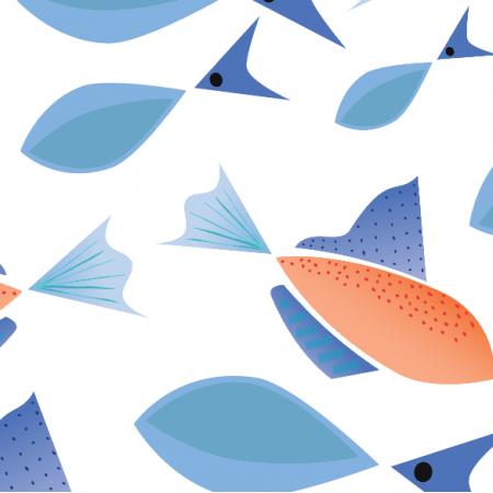 Tkanina 9235 | Andria niebieskie rybki