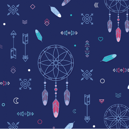 Fabric 9396 | Dream catcher - navy blue