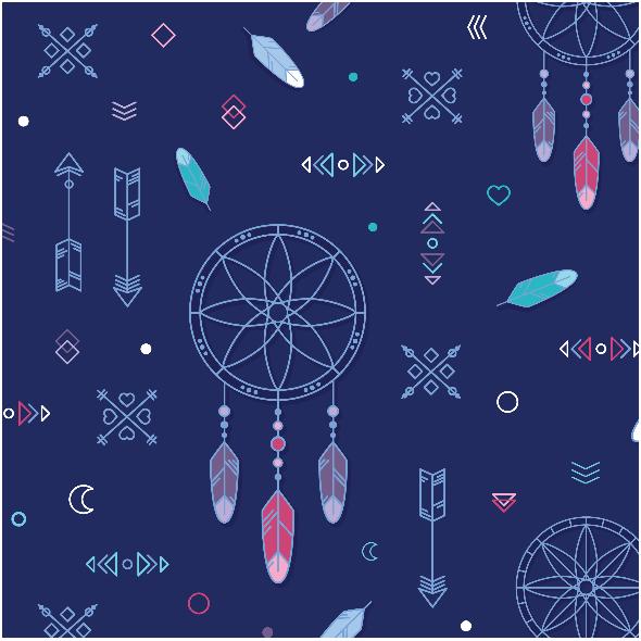 Tkanina 9396 | Dream catcher - navy blue