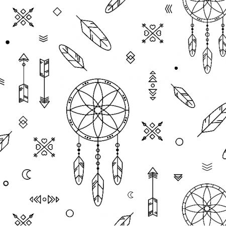 Fabric 9399 | dream catcher - black&white