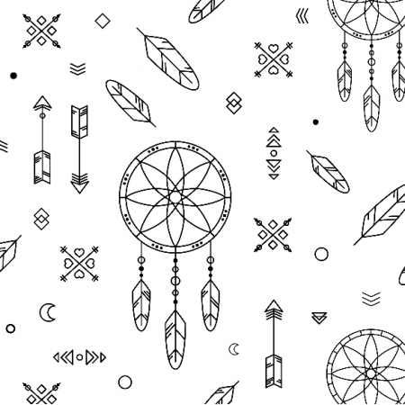 Fabric 9399 | dream catcher - black&white