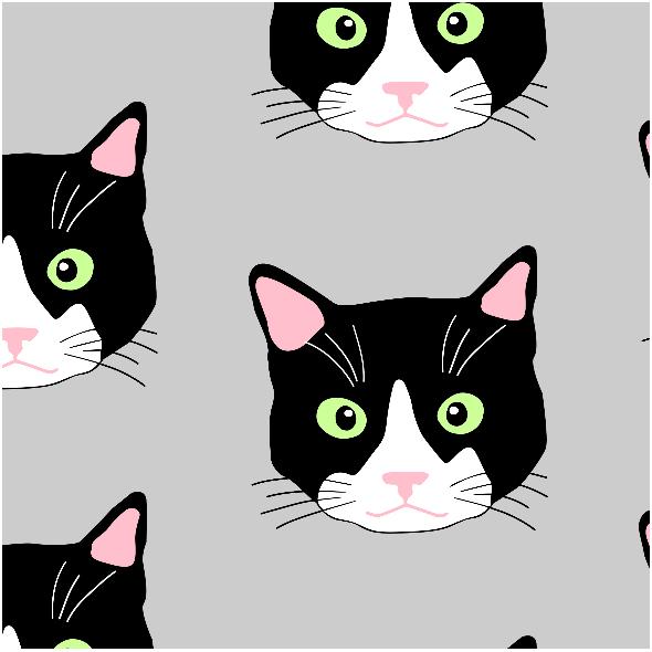 Fabric 9456 | CATS ON GRAY