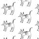 Tkanina 9623 | black and white cat
