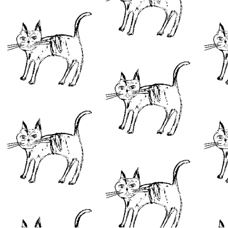 Fabric 9623 | black and white cat