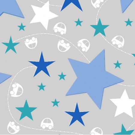 Tkanina 9642   gwiazdy i chłopięce auta. niebieskie