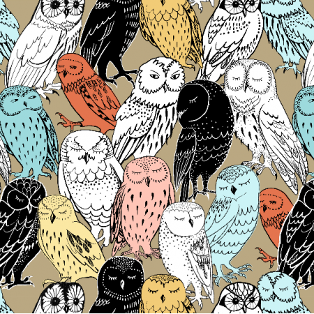 Fabric 9648 | colored owls