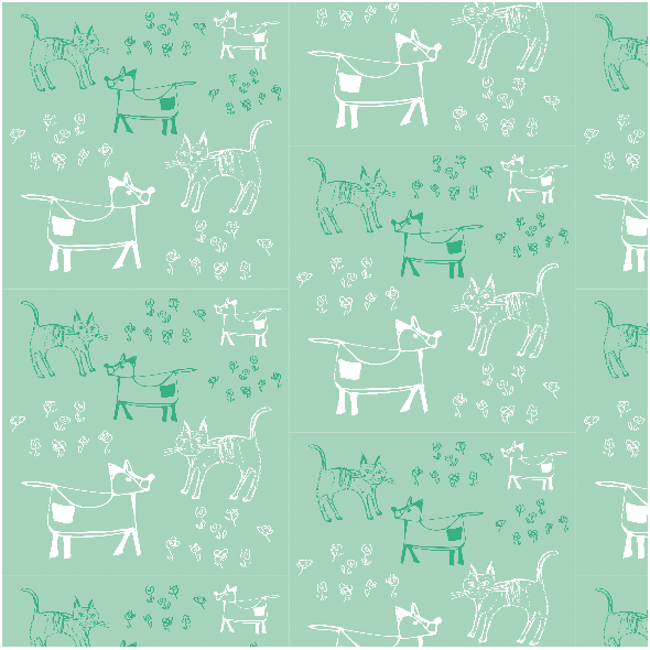 Fabric 9689 | dog and cat - MINT