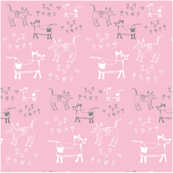 Fabric 9690 | dog and cat - PINK